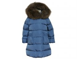 IL GUFO Girls Denim Blue Down Coat with Ruffles