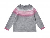 IL GUFO Girls Gray & Pink Sweater with Norwegian Knit Pattern