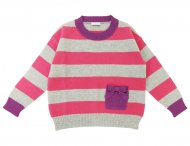 IL GUFO Girls Gray & Pink Striped Sweater with 3D Bow