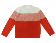 IL GUFO Boys Gray & Red Striped Wool Sweater