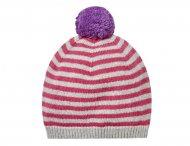 IL GUFO Mütze Bommelmütze in Pink-Grau