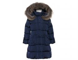 IL GUFO Girls Navy Blue Down Coat with 3D Flowers
