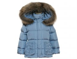 IL GUFO Girls Sky Blue Down Jacket with 3D Flowers