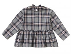 IL GUFO Girls Gray Flannel Blouse With 3D Bow