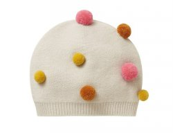 IL GUFO Girls Beige Wool Hat with 3D Pompons