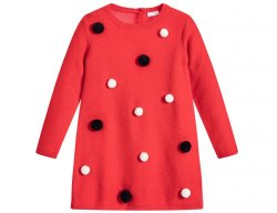 IL GUFO Girls Red Wool Dress with 3D Pompons
