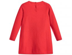 IL GUFO Mädchen Kleid Strickkleid mit 3D Pompons in Rot