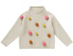IL GUFO Girls Beige Wool Sweater with 3D Pompons