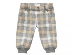 IL GUFO Boys Beige & Gray Flannel Pants