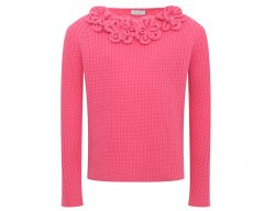 IL GUFO Girls Fuchsia Wool Sweater with 3D Flowers