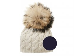 IL GUFO Girls Navy Blue Wool Pompon Hat with Cable Pattern