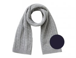 IL GUFO Navy Blue Wool Scarf with Cable Pattern