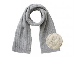 IL GUFO Beige Wool Scarf with Cable Pattern