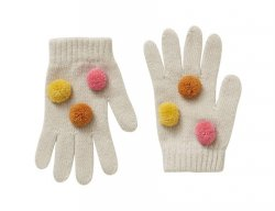 IL GUFO Girls Beige Wool Gloves with 3D Pompons