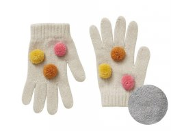 IL GUFO Girls Gray Wool Gloves with 3D Pompons