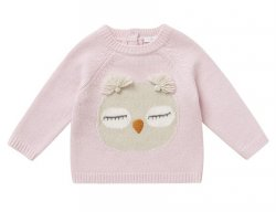 IL GUFO Girls Pink & Beige Wool Sweater with Owl