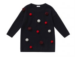 IL GUFO Girls Navy Blue Wool Dress with 3D Pompons