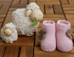 MINI CASHMINI Baby Pink & Brown Cashmere Socks Booties with Flowers