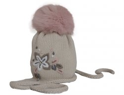 f8170ccd1ba CATYA Girls Beige Fur Pom-Pom Hat with Embroidery