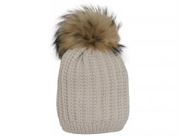 d7502276c70 CATYA Girls Beige Wool Pompom Hat with Pearl Pattern