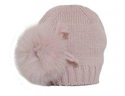 CATYA Mütze mit Fellbommel an der Seite in Altrosa